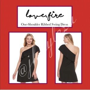 LOVE, FIRE: Ribbed One-Shoulder Swing Dress